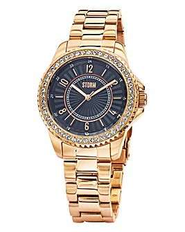 Storm Ladies Crystal Rose-tone Watch
