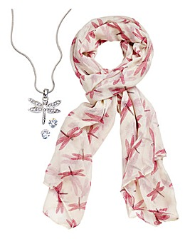 Dragonfly Jewellery Set With Free Scarf