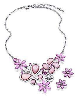 Butterfly and Flower Jewellery Set