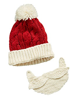 Knitted Santa Hat with Detachable Beard