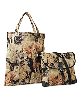 Tapestry Shoulder Bag with Shopper