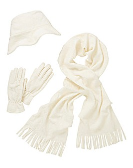 Embossed Fleece Scarf, Hat & Gloves Set