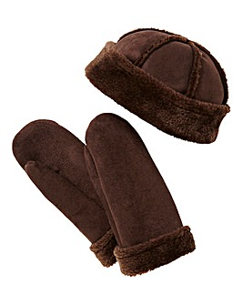 Faux Sheepskin Hat & Mitts