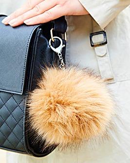 Faux Fur Handbag Pom Pom