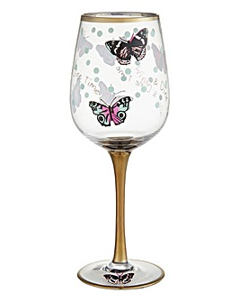 Wine and Dine Time Butterfly Wine Glass