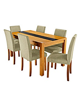 Oakham Glass Panel Extend Table 6 Chairs
