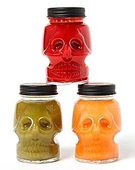 Set of 3 Mini Skull Hot Sauces