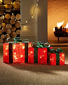 Set of 3 Lit Sisal Gift Boxes