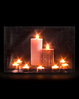 Candles & Tealights Lit Wall Canvas