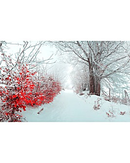 Snowy Red Touch Lit Wall Canvas