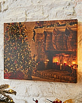 Cosy Fireplace Touch Lit Wall Canvas
