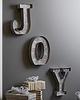 JOY Silver Sparkle Light Up Wall Plaque