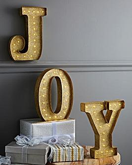 JOY Golden Light Up Wall Plaque