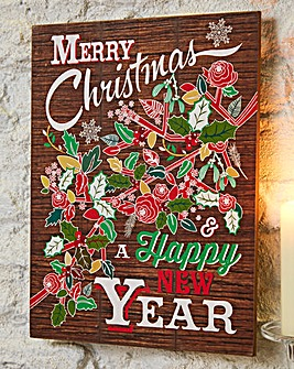Merry Xmas & New Year Wall Plaque