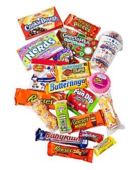American Candy Favourites Wicker Hamper