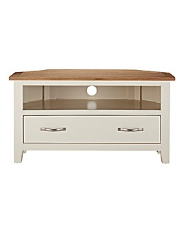 Harrogate Two Tone Oak Corner TV Unit