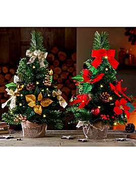Table Top LED Poinsettia Tree