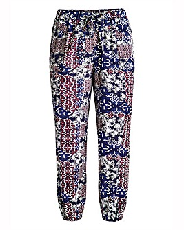 Cropped Ornate Folk Crop Harem Trousers