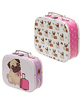 Set of 2 Craft Cases - Pug Design