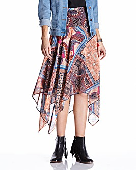 Tribal Print Hanky Hem Skirt