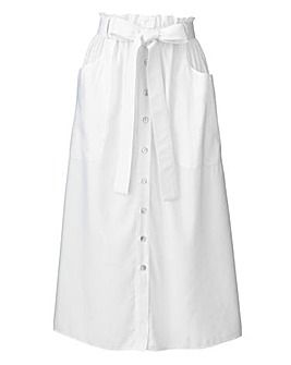 Paperbag Waist Linen Mix Skirt