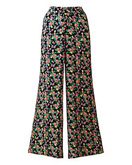 Black Floral Wide Leg Trousers Long