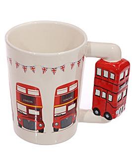 Shaped Handle Novelty Mug - Red Bus