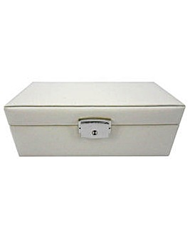 Cream Jewellery Box with Lock.