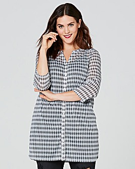 White Print Button Through Tunic