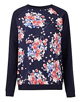 Navy Print Woven Front Sweatshirt