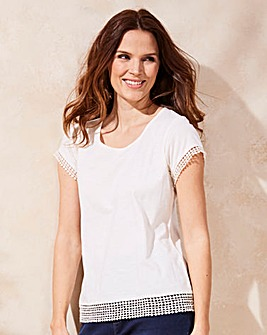 Ivory Crochet Trim Top