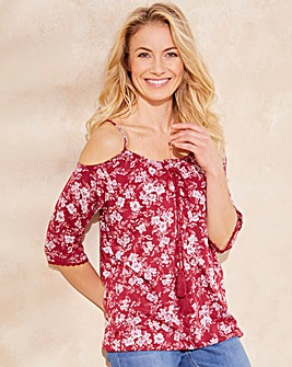 Cherry Floral Tie Neck Cold Shoulder Top