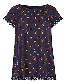 Navy Print Crochet Trim Gypsy Jersey Top