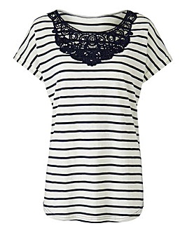 Navy Stripe Crochet Neck T-shirt
