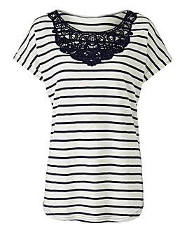 Navy Stripe Crochet Neck T-shirt