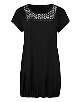 Black Embroidered Mesh Jersey Top