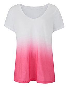 Pink Ombre Dip Dye V Neck T-Shirt