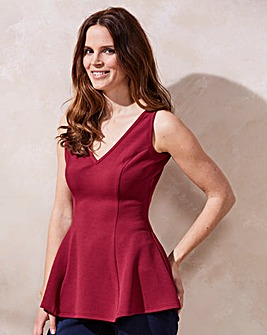 Cherry Textured Sleeveless Peplum Top