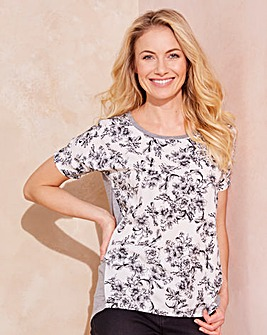 White Floral Dip Back Woven Front Top