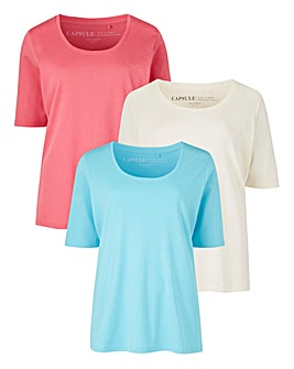 Pink/ Ivory/ Aqua Pack of 3 T-shirts