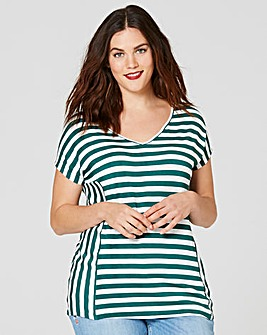 Green Stripe V-neck T-shirt