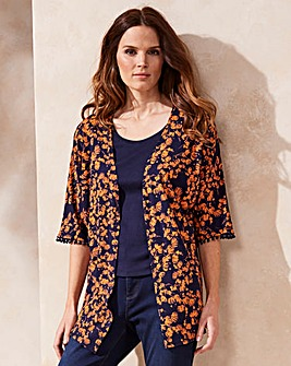 Orange Floral Pom Pom Trim Jersey Kimono