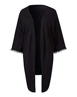 Black Pom Pom Trim Jersey Kimono