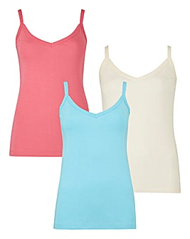 Candy Pink/ Ivory/ Aqua Pack of 3 Camis