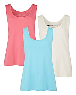 Candy Pink/ Ivory/ Aqua Pack Of 3 Vests