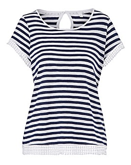 Navy Stripe Crochet Trim Top