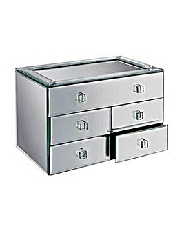 Bevelled 5 Drawer Mirrored Jewellery Box