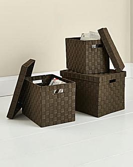Set of 3 Woven Lidded Baskets