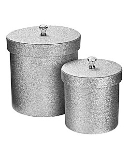 Glitter Faux Leather Set of 2 Round Bask