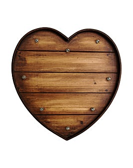 Lit Wood Effect Heart Metal  Art